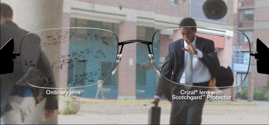 Crizal no-glare lenses keep dust, dirt and smudges off