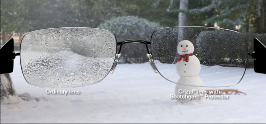 Crizal no glare lens to repel snow